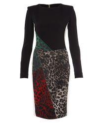 Roland Mouret Black Tricolour Dresden Leopard Print Dress