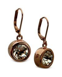 T Tahari | Pink 14k Rose Gold Bezel Crystal Signature Drop Earrings | Lyst
