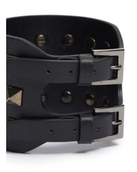 Valentino | Black 'rockstud Noir' Wide Leather Bracelet | Lyst