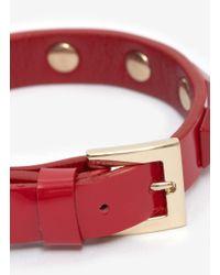 Valentino - Red Rockstud Patent Leather Skinny Bracelet - Lyst