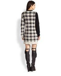 3.1 Phillip Lim Gray Wool Cashmereblend Colorblock Plaid Sweaterdress