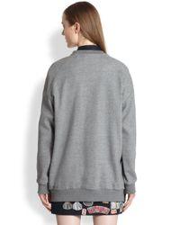 3.1 Phillip Lim Gray Embroidered Sidezip Sweatshirt