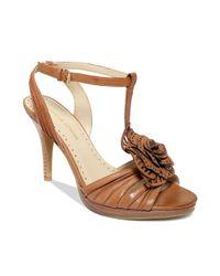 Adrienne Vittadini Brown Chrysalis Mid Heel City Sandals