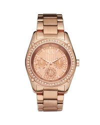Armani Exchange Pink Ax Armani Exchange Watch Womens Rose Gold Plated Stainless Steel Bracelet 40mm