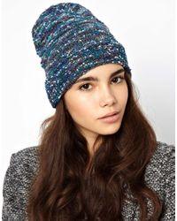 ASOS | Blue Boucle Metallic Knit Beanie | Lyst