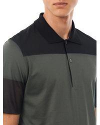 Balenciaga Gray Tri Colour Two Button Polo Top for men