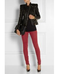 Balmain Red Coated Mid-Rise Skinny Jeans