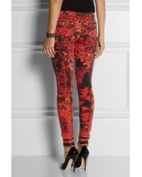 Balmain Red Printed Cotton-Blend Skinny Mid-Rise Jeans