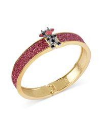 Betsey Johnson - Antique Goldtone Pink Glitter Cow Hinged Bangle Bracelet - Lyst
