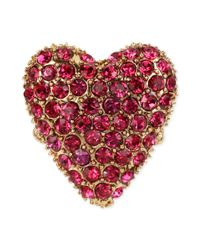 Betsey Johnson - Pink Gold Tone Fuchsia Crystal Heart Stretch Ring - Lyst