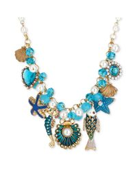 Betsey Johnson | Blue Goldtone Sea Shell and Fish Multicharm Frontal Necklace | Lyst