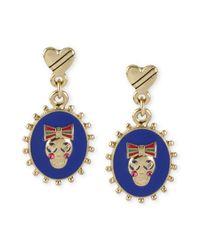 Betsey Johnson - Metallic Gold-tone Skull Oval Drop Earrings - Lyst
