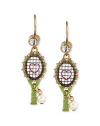 Betsey Johnson | Multicolor Gold Tone Tennis Racquet Drop Earrings | Lyst