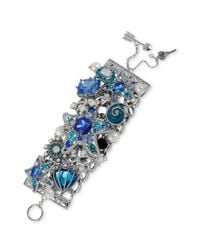 Betsey Johnson | Metallic Silver Tone Starfish and Blue Crystal Wide Toggle Bracelet | Lyst