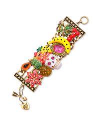 Betsey Johnson Multicolor Skull Multi Charm Wide Toggle Bracelet