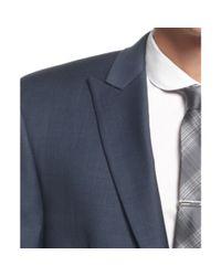 Calvin Klein Medium Blue Sharkskin Peak Lapel Slim Fit Big and Tall for men