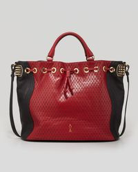 Christian Louboutin Dompteuse Twotone Quilted Bucket Bag Red