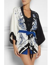 Emilio Pucci White Printed Silk Crepe De Chine Robe