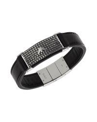 Emporio Armani | Black Leather Mesh Logo Bracelet for Men | Lyst