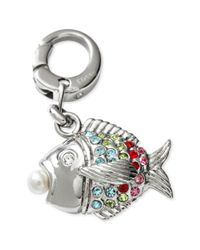 Fossil - Metallic Silver Tone Multicolor Sparkling Fish Charm - Lyst