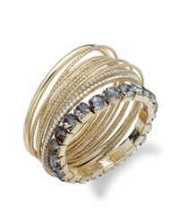 INC International Concepts - Metallic 14k Goldplated Twotone Glass Stone Bangle Bracelets - Lyst