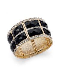INC International Concepts - Goldtone Black Rectangle Stone Pave Stretch Bracelet - Lyst