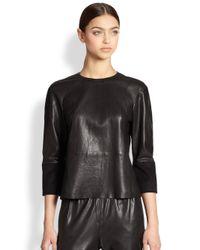 J Brand Black Anya Leather Top