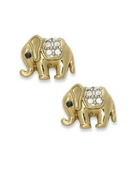 Juicy Couture | Metallic Gold Tone Elephant Stud Earrings | Lyst