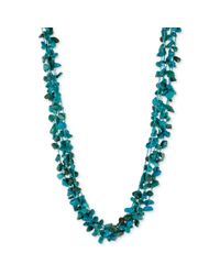 Kenneth Cole | Blue Silver Tone Turquoise Chip Cluster Bead Necklace | Lyst