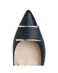 L.K.Bennett Blue Amelia Printed Flat Court Shoes