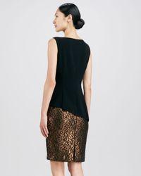 Lafayette 148 New York Black Emma Peplum Combo Dress