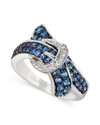 Le Vian | Blue Ceylon Sapphire (1 Ct. T.w.) And Diamond Accent Bypass Buckle Ring In 14k White Gold | Lyst