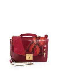 Marc Jacobs Red Mini Polly Mixedmedia Shoulder Bag