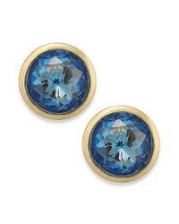 Michael Kors | Goldtone Blue Glass Stud Earrings | Lyst
