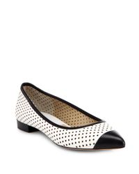 Michael Kors White Jane Bicolor Perforated Leather Flats