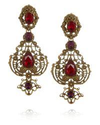 Oscar de la Renta | Brown Goldplated Crystal Clip Earrings | Lyst
