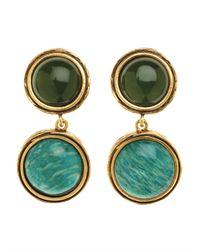 Oscar de la Renta | Green Semi Precious Drop Earring | Lyst