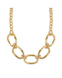 Robert Lee Morris | Metallic Goldtone Large Oval Link Frontal Necklace | Lyst