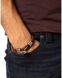 Pepe Jeans - Brown Simon Carter Leather Skull Bracelet for Men - Lyst