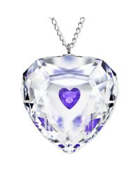 Swarovski | Metallic Rhodium Plated Violet Truthful Heart Crystal Pendant Necklace | Lyst