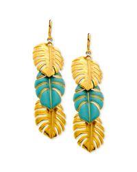 T Tahari - Metallic 14k Gold Plated Turquoise Triple Leaf Drop Earrings - Lyst