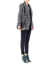 Theory Black Oversized Houndstooth Wool Coat