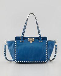 Valentino Rockstud Mini Tote Bag Blue