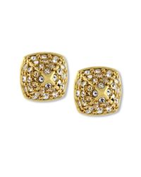 Vince Camuto | Metallic Goldtone Crystal Pave Small Rounded Pyramid Stud Earrings | Lyst