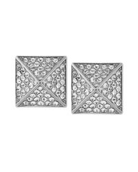 Vince Camuto | Metallic Silver-tone Glass Pave Pyramid Stud Earrings | Lyst