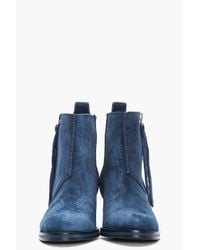 Acne Studios Blue Brushed Suede Pistol Ankle Boots