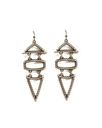AKIRA - Metallic Final Sale Geo Earrings in Antique Gold - Lyst