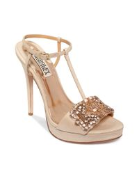 Badgley Mischka Natural Amara Platform Evening Sandals