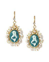 Betsey Johnson | White Antique Goldtone Mermaid Medallion Drop Earrings | Lyst
