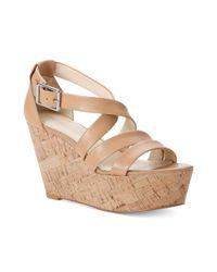 Calvin Klein Natural Vonnie Platform Wedge Sandals